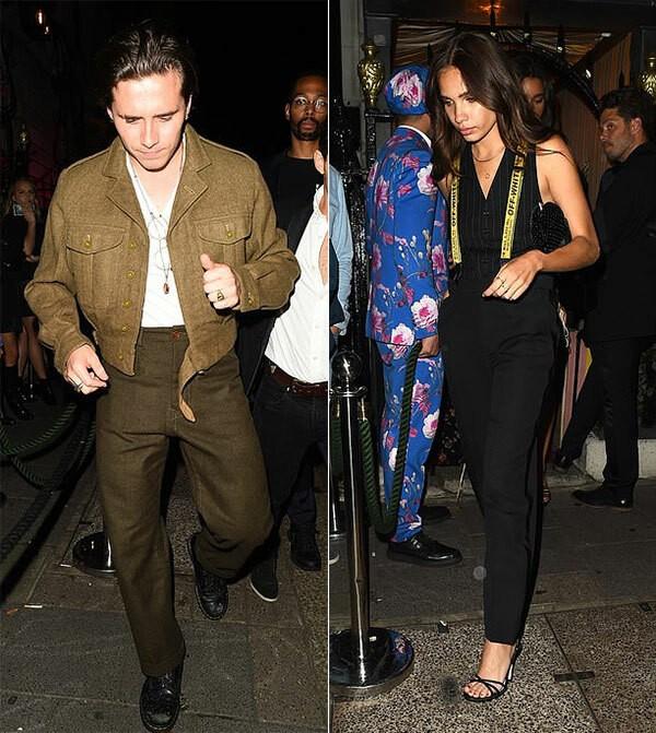 Brooklyn và Hana Cross rời bữa tiệc hôm 12/9.