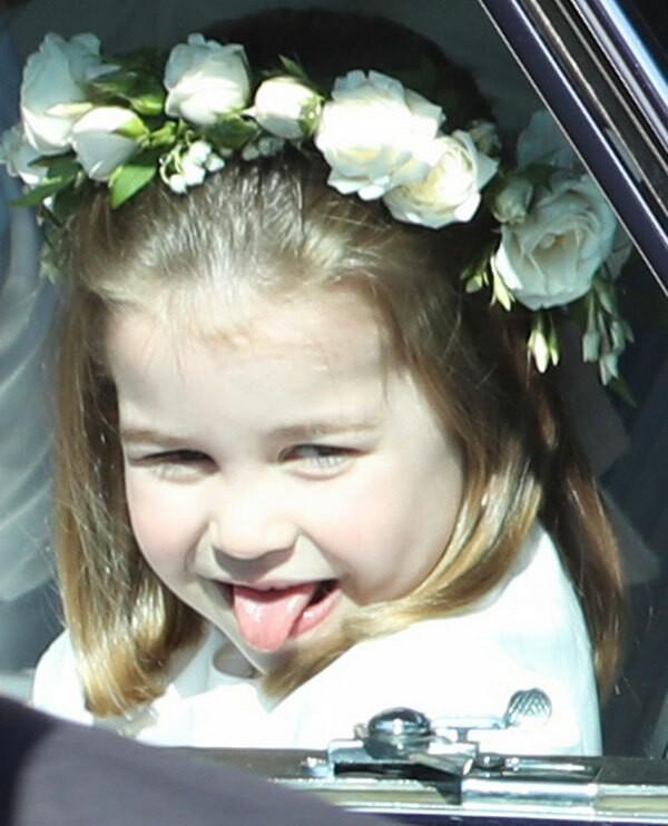 Công chúa Charlotte lè lưỡi trêu người hâm mộ ở đám cưới chú Harry,
