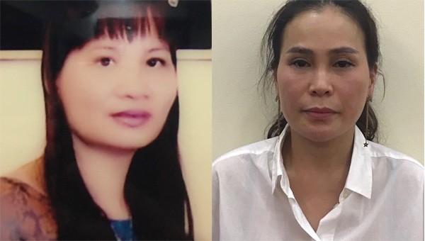 Bị can Nguyễn Thị Thu Thủy (bên trái) và Lê Thị Thanh Thúy (bên phải).