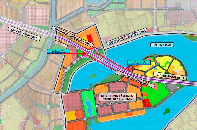 Phạm vi nghiên cứu dự án hai cầu đi thấp qua hồ Linh Đàm. Ảnh ban quản lý dự án cung cấp.