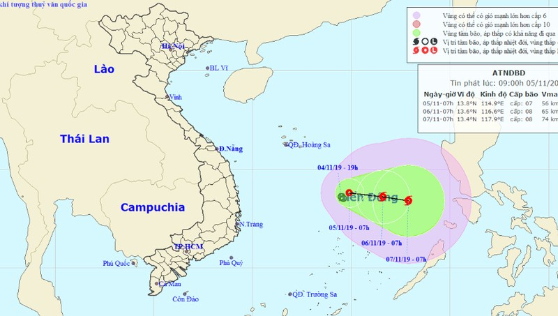 Đề phòng bão hoành hành giữa Biển Đông, sóng cao tới 4m
