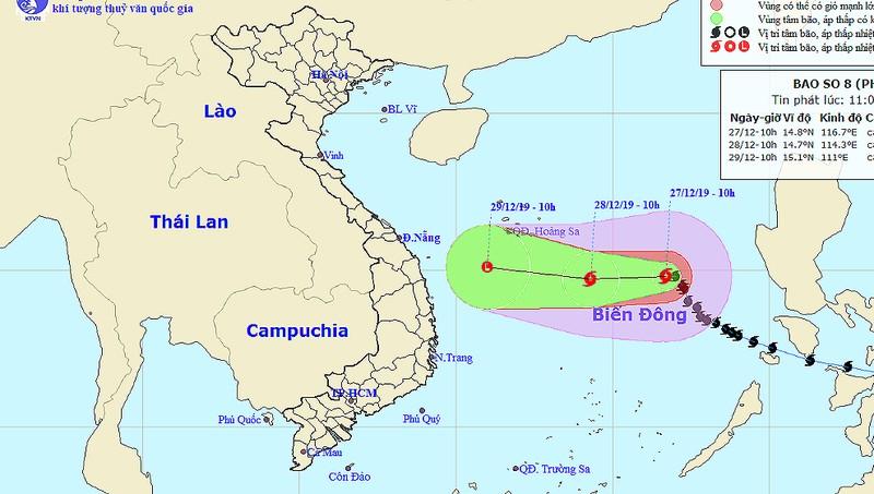 Cảnh báo vùng nguy hiểm do bão số 8 trên Biển Đông