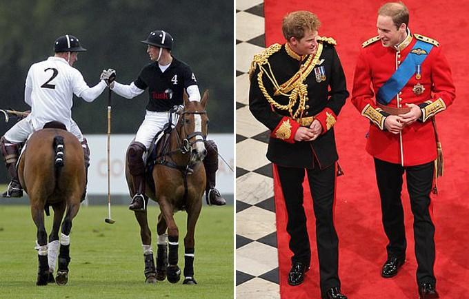 Ảnh trái: Tuy là đối thủ trong một trận polo tại Ascot năm 2011 nhưng cuối trận Harry và William vẫn bắt tay nhau trên tinh thần anh em. Ảnh phải: Harry chung vui với anh trai trong ngày cưới của William với Kate năm 2011.