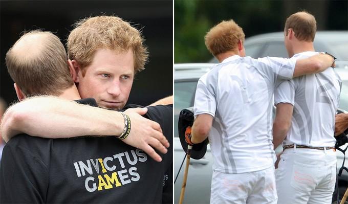 Ảnh trái: Hoàng tử Harry ôm tạm biệt anh trai sau khi cả hai cùng vừa xem xong thi đấu điền kinh tại Invictus Games tại London năm 2014. Ảnh phải: Harry khoác vai anh trai khi chơi polo ở Windsor năm 2015.