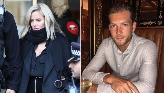 Caroline rời đồn cảnh sát (trái) hồi tháng 12 và không nhận tội tấn công bạn trai (phải).