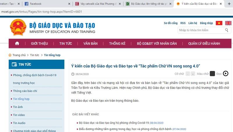 Bộ Giáo dục lên tiếng về tác phẩm gây xôn xao 'Chữ Việt Nam song song 4.0'
