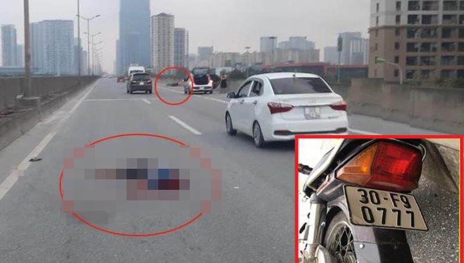 Tìm thân nhân nam thanh niên tử vong khi đi xe máy đường trên cao ở Hà Nội