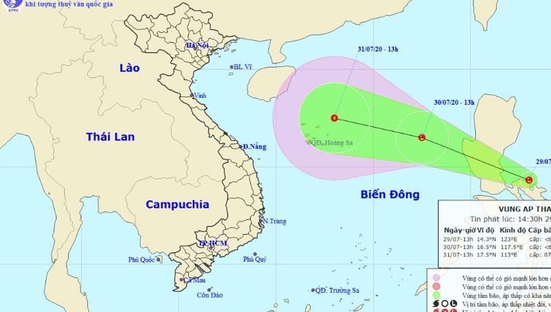Xuất hiện vùng áp thấp mạnh đang tiến vào Biển Đông