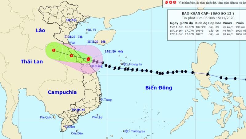 Bão tiến dần vào Hà Tĩnh - Thừa Thiên Huế, dội mưa lớn xuống Thanh Hóa - Quảng Nam