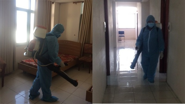 Hai địa điểm cách ly tập trung của Vietnam Airlines được khử trùng. Ảnh: Trung tâm Kiểm soát bệnh tật TP HCM.