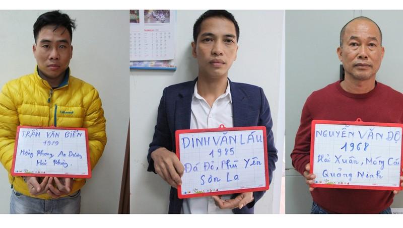Các đối tượng bị bắt giữ trong chuyên án đấu tranh tụ điểm mại dâm tại thành phố Móng Cái. Ảnh: Công an tỉnh Quảng Ninh.