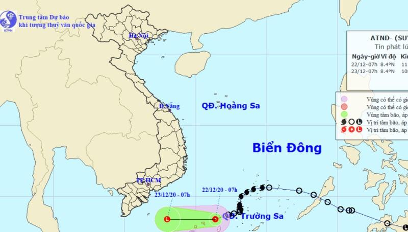 Cảnh báo vùng nguy hiểm do áp thấp nhiệt đới trên Biển Đông