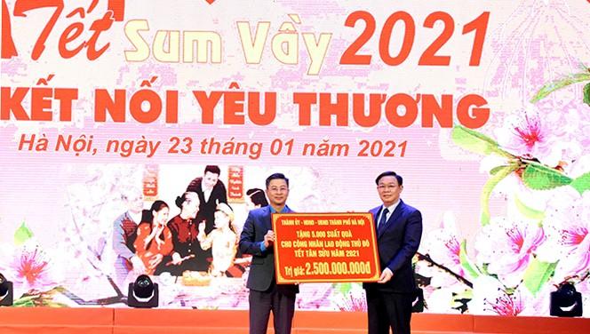 Tổ chức chợ Tết, hỗ trợ hơn 60 tỷ đồng, tặng 90.000 vé xe cho công nhân Hà Nội