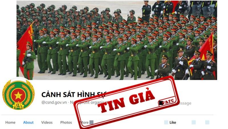 Cảnh báo về fanpage giả kênh của Bộ Công an, đăng tin sai sự thật