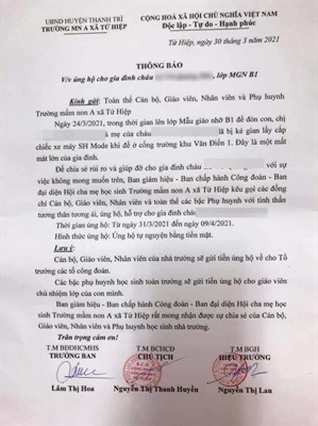 Hà Nội: Trường mầm non kêu gọi mua xe máy SH cho phụ huynh bị mất cắp - 1