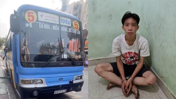 Nam thanh niên gí dao vào cổ khống chế tài xế đang lái xe buýt