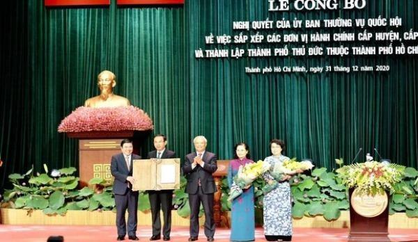 Lễ công bố thành lập TP Thủ Đức thuộc TP HCM. Ảnh: Thành ủy TP HCM