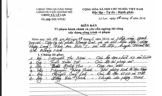 Bất chấp các quy định của pháp luật, UBND xã Lê Lợi vẫn cố tình lập biên bản và yêu cầu Công ty Hưng Long ngừng thi công.