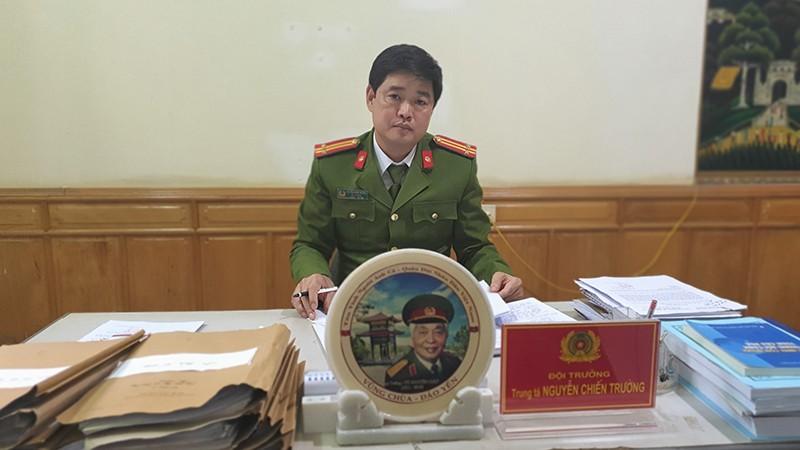 Trung tá Nguyễn Chiến Trường - Đội trưởng Đội Cảnh sát điều tra tội phạm về trật tự xã hội Công an thị xã Phú Thọ.