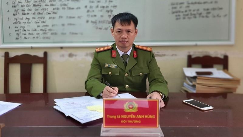 Trung tá Nguyễn Anh Hùng - Đội trưởng Đội Cảnh sát phòng chống tội phạm theo tuyến địa bàn thuộc Phòng Cảnh sát hình sự Công an tỉnh Phú Thọ.