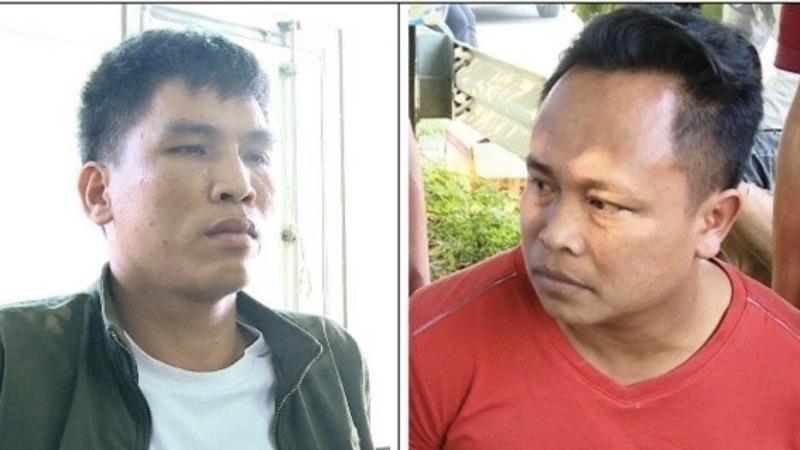 Đối tượng Nguyễn Ngọc Tú (trái) và Phạm Văn Hải tại cơ quan Công an.