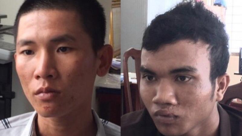 Lê Văn Thành (trái) và Dương Văn Dương khi bị bắt giữ tại cơ quan Công an.