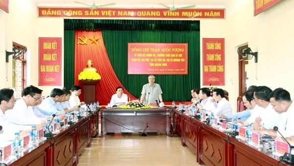 Ủy viên Bộ Chính trị, Thường trực Ban Bí thư Trần Quốc Vượng phát biểu tại buổi làm việc