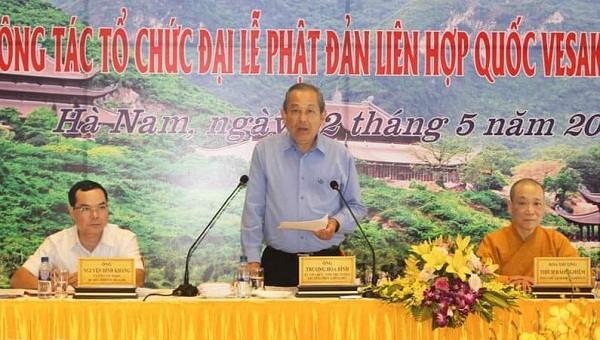 Phó Thủ tướng Thường trực Trương Hòa Bình kiểm tra công tác chuẩn bị Đại lễ Phật đản Liên hợp quốc - Vesak 2019