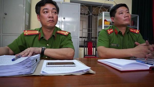 Đại diện Công an TP Thái Bình làm việc với Báo PLVN