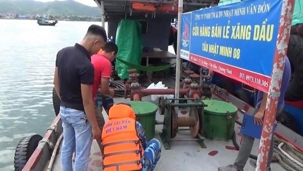 Bộ Tư lệnh Cảnh sát biển đang tạm giữ tàu vận tải mang biển hiệu QN - 0222 TS chở gần 40.000 lít dầu DO bất hợp pháp