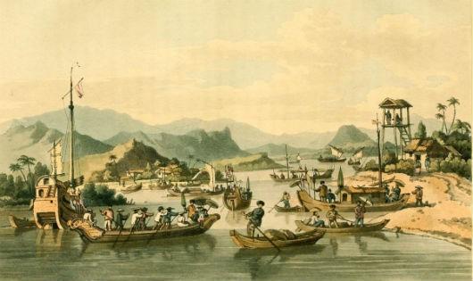 Thuyền bè trên sông tại Hội An. Hình vẽ khoảng năm 1792