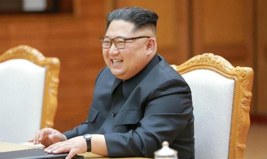 Lãnh đạo Triều Tiên Kim Jong Un trong buổi gặp gỡ tổng thống Hàn Quốc Moon Jae In ngày 27/5/2018