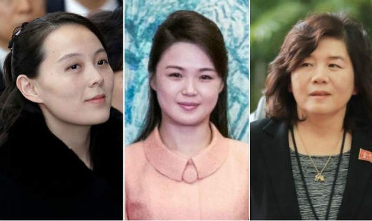 Từ trái sang phải: Kim Yo Jong, Ri Sol Ju và Choe Son Hui