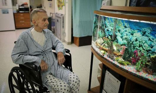 Hình ảnh một phạm nhân cao tuổi ốm yếu trong các nhà tù ở California