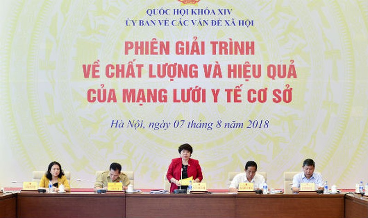 Chủ nhiệm Ủy ban về các vấn đề xã hội của Quốc hội- bà Nguyễn Thúy Anh phát biểu tại phiên giải trình
