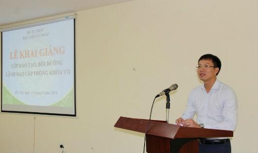 Giám đốc Học viện Tư pháp Đoàn Trung Kiên phát biểu tại Lễ khai giảng