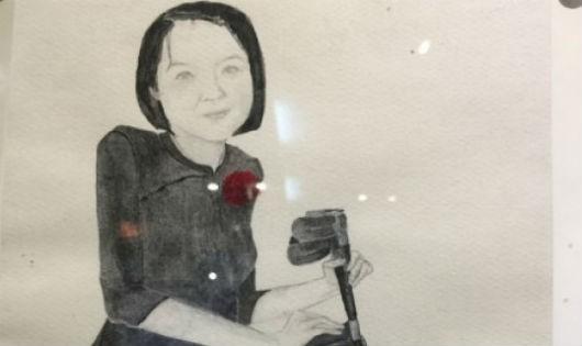 Chân dung Nguyễn Thị Thơm do nữ nghệ sĩ Hiratsuka Niki vẽ
