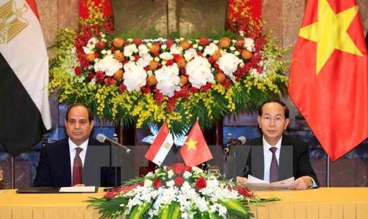 Chủ tịch nước Trần Đại Quang và Tổng thống Ai Cập Abdel Fattah el-Sisi chủ trì họp báo thông báo kết quả hội đàm. Ảnh: TTXVN.