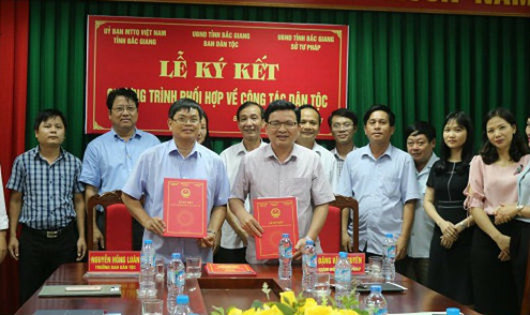 Sở Tư pháp Bắc Giang trong một buổi  lễ kí kết (Ảnh minh họa)