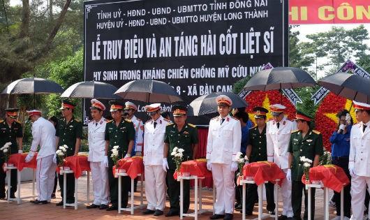 Đồng Nai tổ chức lễ truy điệu và an táng 13 hài cốt liệt sĩ