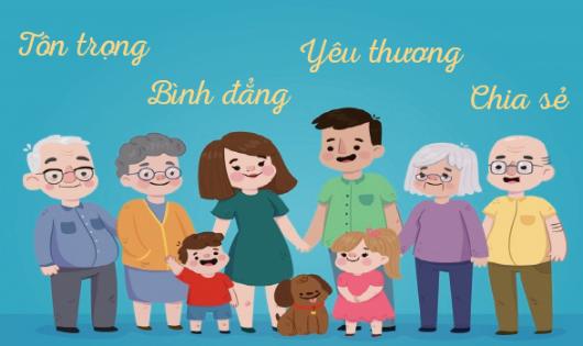 Bộ Tiêu chí ứng xử trong gia đình đặc biệt nhấn mạnh đến 4 tiêu chí ứng xử chung là: tôn trọng, bình đẳng, yêu thương, chia sẻ.