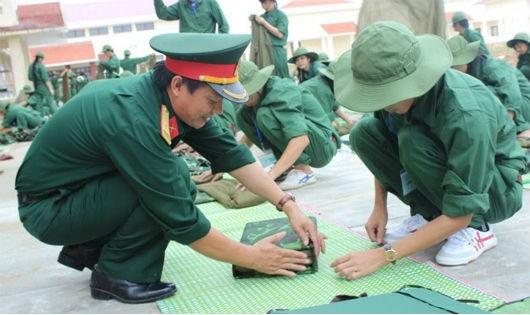 Một buổi học QP-AN tại Trường ĐH Xây dựng.
