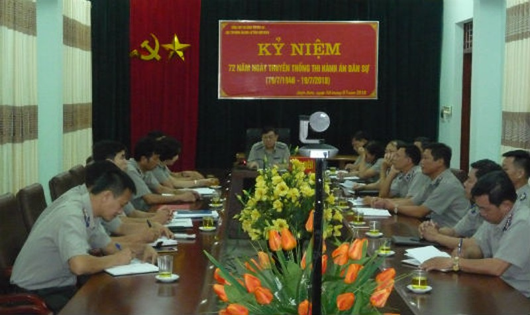 Một Hội nghị giao ban công tác THADS của Cục THADS tỉnh Điện Biên. ảnh: T.Trung