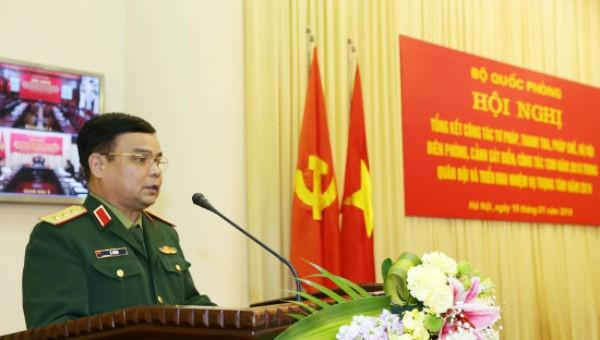 Thượng tướng Lê Chiêm phát biểu chỉ đạo hội nghị.