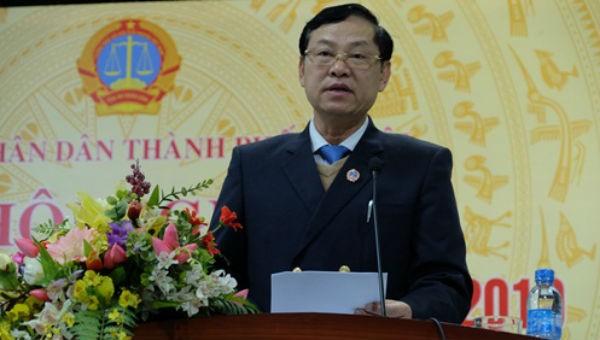 Chánh án TAND TP. Hà Nội Nguyễn Hữu Chính phát biểu tại Hội Nghị