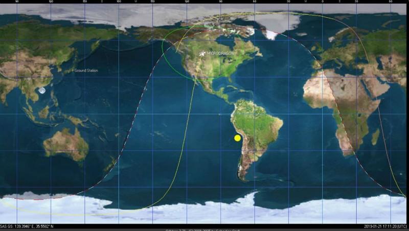 Vị trí vệ tinh MicroDragon của Việt Nam khi thực hiện chụp ảnh thử nghiệm lần đầu tiên ở độ cao khoảng 512km. Ảnh: VNSC