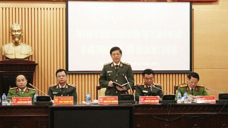 Trung tướng Đoàn Duy Khương, Giám đốc CATP chủ trì, phát biểu chỉ đạo hội nghị