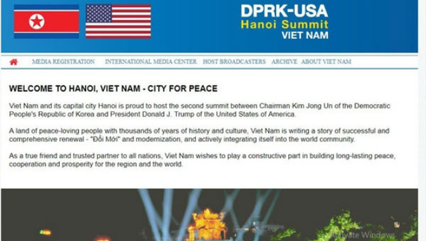 Lời chào mừng đến với Thượng đỉnh tại Hà Nội giữa Mỹ và Triều Tiên lần thứ hai