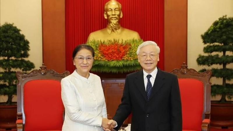 Tổng Bí thư, Chủ tịch nước Nguyễn Phú Trọng tiếp Chủ tịch Quốc hội Lào Pany Yathotou
