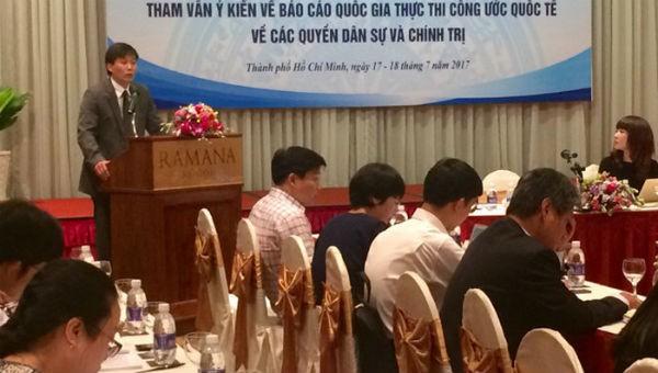 Một buổi hội thảo tham vấn ý kiến về Báo cáo quốc gia thực thi Công ước ICCPR do Bộ Tư pháp tổ chức tại TP HCM